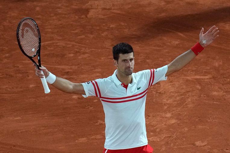 Novak Djokovic na zijn overwinning op Rafael Nadal. Beeld AP