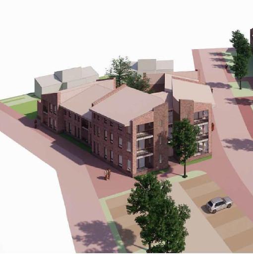Appartementencomplex dat moet verrijzen op de plaats aan de Breestraat in Sint Anthonis waar nu nog Garage Van de Weem zit.