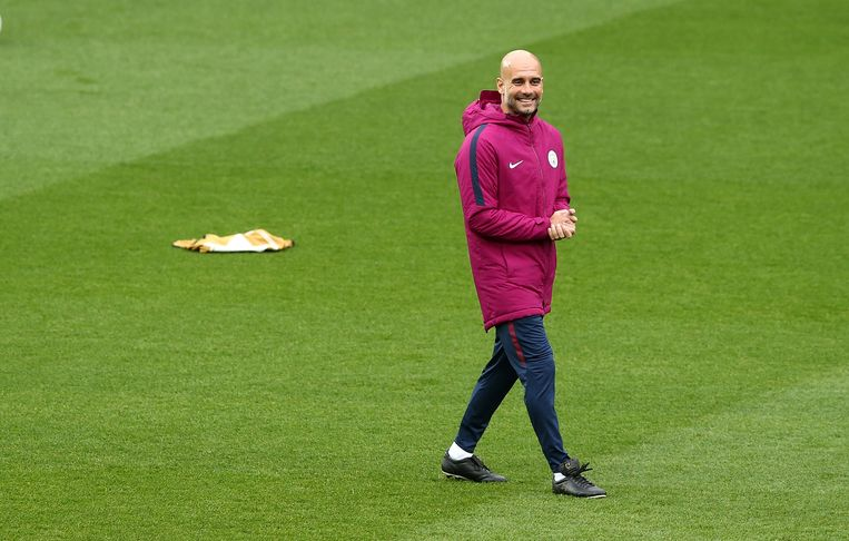 Pep Guardiola during the training prior to the Champions League's quarter final against Liverpool. Beeld Getty Images