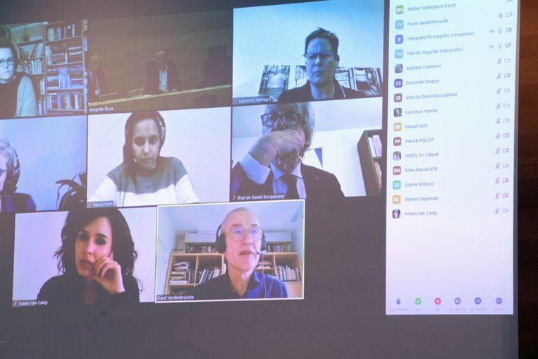 De interministeriële conferentie via Zoom. Beeld Photo News