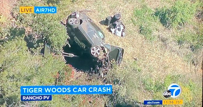 La voiture de Tiger Woods après l'accident