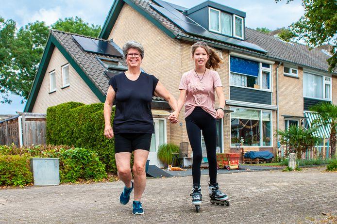 Moeder Ilona Willemstein en dochter Abby rennen en skeeleren voor het goede doel.