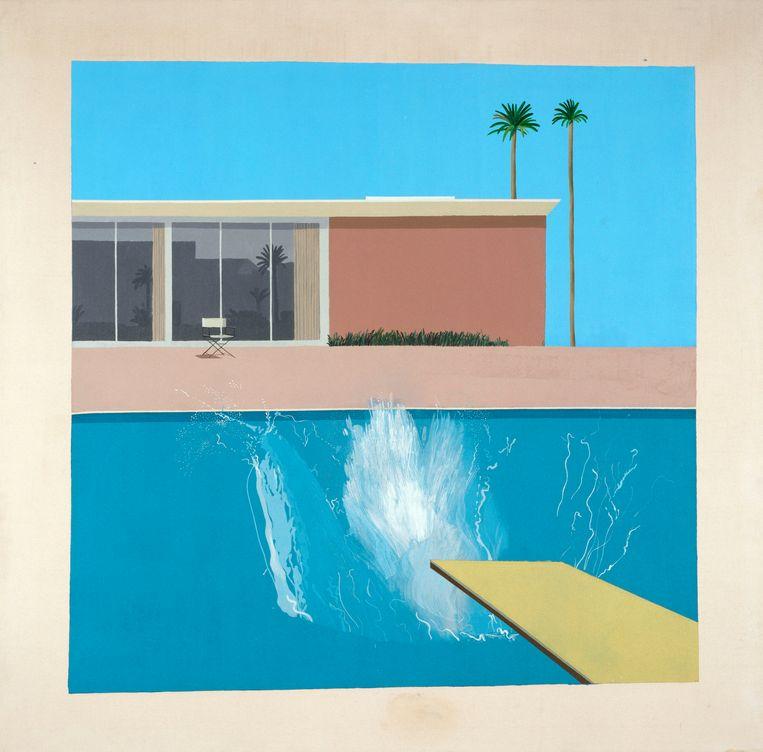 'A bigger splash', in 1967 geschilderd in Amerika, waar de Brit David Hockney 'de kleuren ontdekte'. Beeld Tate / Tate Images