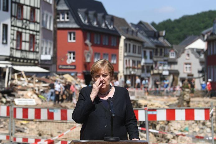 Angela Merkel à Bad Münstereifel (Rhénanie-du-Nord-Westphalie, 20 juilet)
