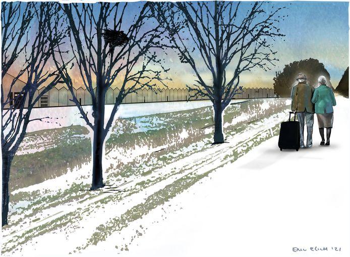 Flip en Annie 's Gravenmade willen hun verhaal vertellen maar liever niet op de foto. Deze tekening illustreert hun vertrek uit de polder.
