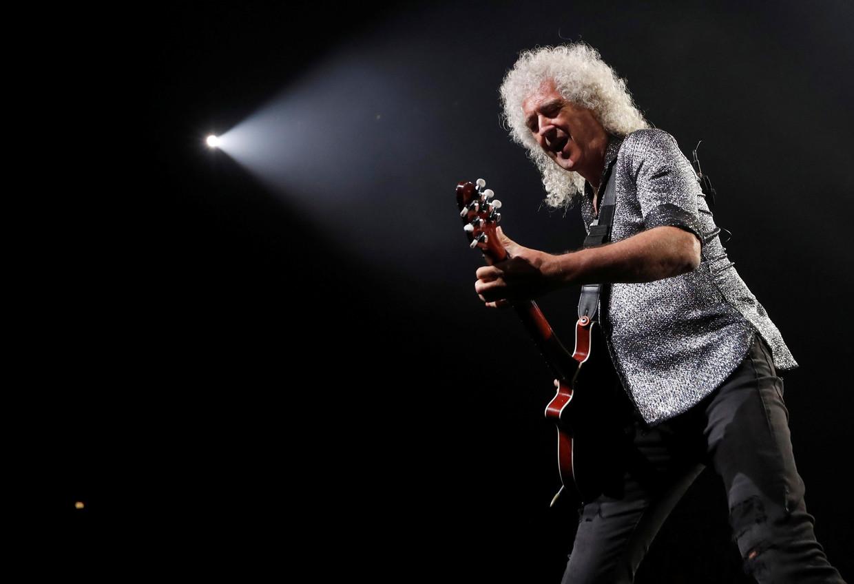 Brian May tijdens de Rhapsody Tour in The Forum in Inglewood, Californië in juli 2019.