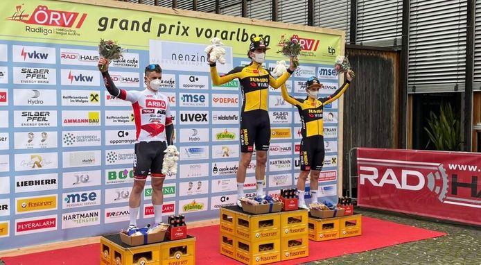 Mick van Dijke op het hoogste podium.