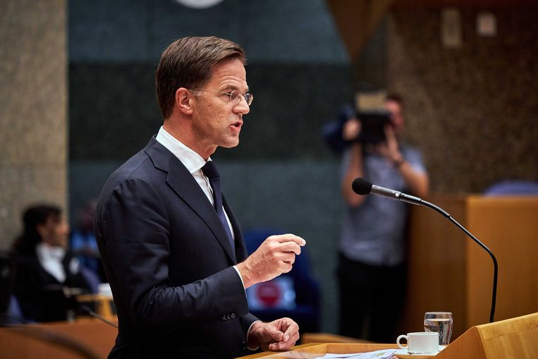 Premier Mark Rutte tijdens het debat in de Tweede Kamer over het Herstelplan van de EU. Beeld ANP