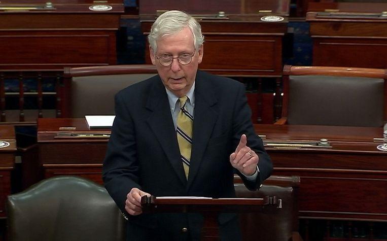 Mitch McConnell, de leider van de Republikeinen in de Senaat. Beeld U.S. Senate TV via REUTERS