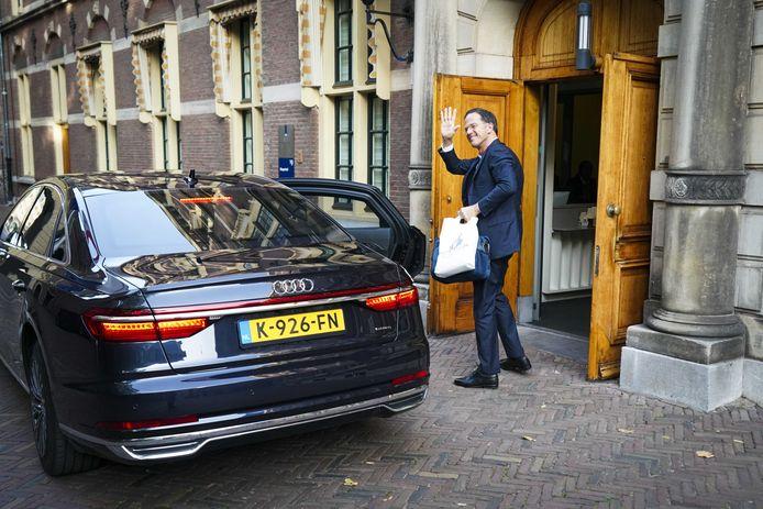 Demissionair premier Mark Rutte arriveert op Prinsjesdag bij het ministerie van Algemene Zaken.