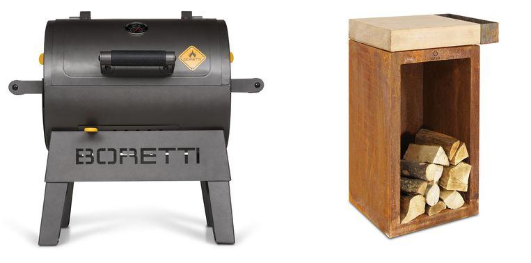 Van links naar rechts: Wie verknocht is aan zijn 'Boretti'-fornuis kan er ook buiten op koken: de 'Terzo'-houtskool-barbecue. 57 cm breed,  €189. kookpunt.nl - Slagersblok van Ofyr met een houtopslag van cortenstaal, €895. luxuryformen.com. Beeld