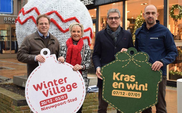Karel Debouvry (Voorzitter Bedrijventerrein Noordvaart), Ann Gheeraert (schepen van Lokale Economie), burgemeester Geert Vanden Broucke en Mike Sarrazijn (Deskundige Lokale Economie)