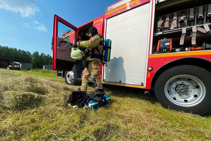 De brand legde ongeveer 1.000 m² hooiland langs de Putbosstraat in Papegem/Impe in de as.