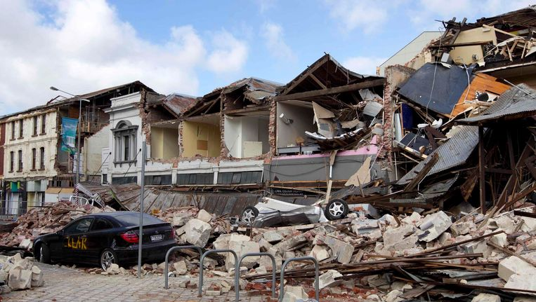 Christchurch na de aardbeving van 22 februari. Beeld REUTERS