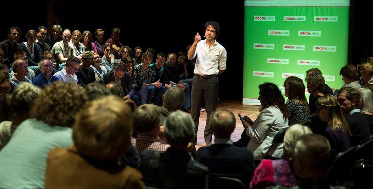 GroenLinks-partijleider Jesse Klaver in gesprek met zijn achterban tijdens een meet-up in Theater Kikker Beeld anp