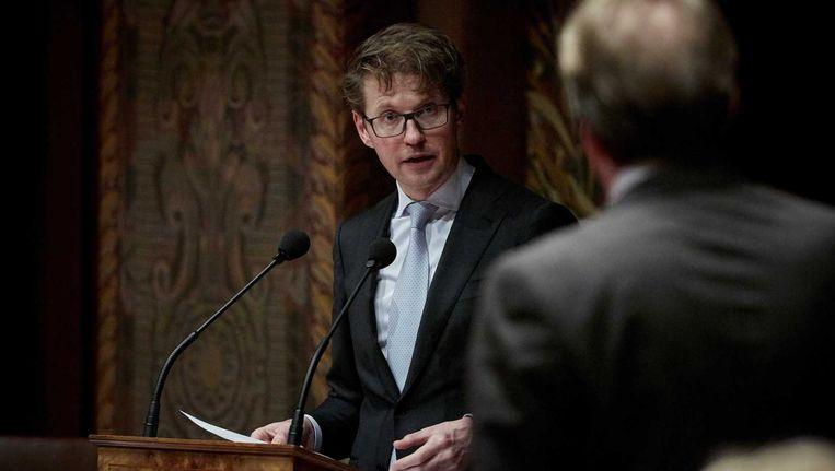 Staatssecretaris Sander Dekker tijdens de voortzetting van het Eerste Kamerdebat over het toekomstbestendig maken van de publieke omroep. Beeld anp