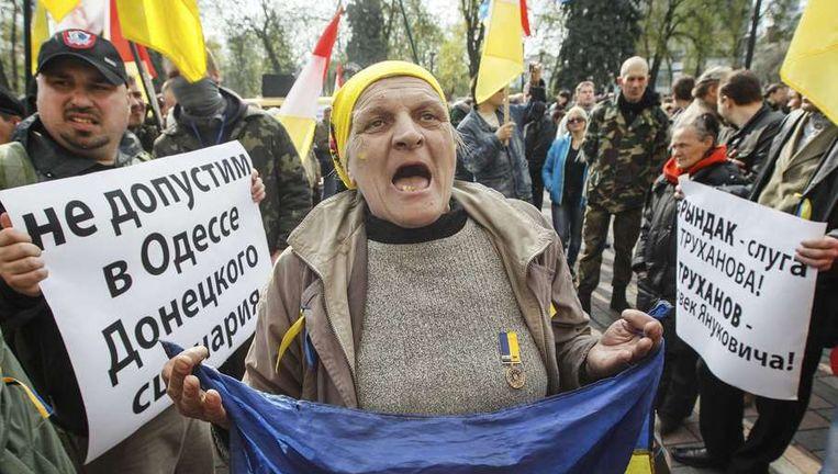 Betogers gisteren in Odessa. Beeld reuters