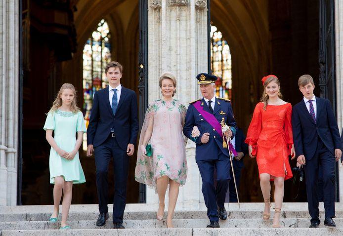 """Le Roi Philippe de Belgique, la Reine Mathilde de Belgique, le prince Gabriel, le prince Emmanuel la princesse Eléonore, la princesse Elisabeth assistent à la cérémonie du  """"Te Deum"""""""