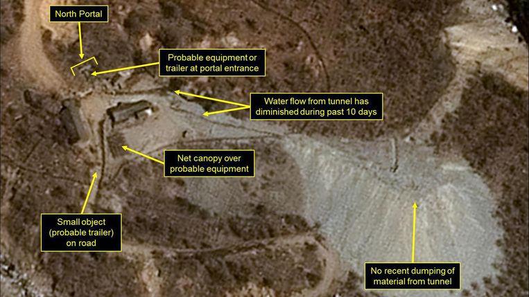 De nucleaire testsite in Punggye-ri.  Beeld AFP