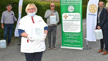 Rotary Menen schenkt 100 liter handgel aan thuisverpleegkundigen
