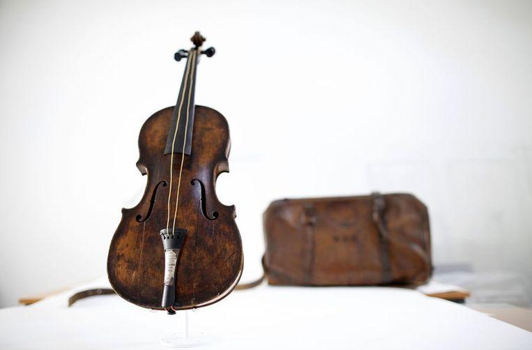De viool afkomstig uit de Titanic. Beeld afp