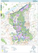 Het leefgebied van de wolf, zoals de provincie Gelderland het in kaart liet brengen.