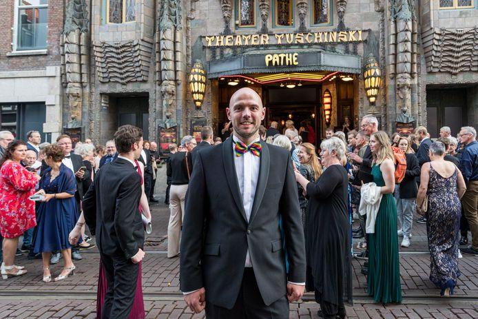 Geert Bukkems van de Peelpioniers is bij theater Tuschinski in Amsterdam voor de première van de film 'Wending'.
