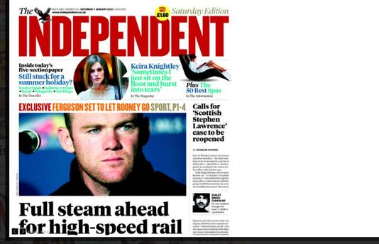 De voorpagina van The Independent met Rooney.