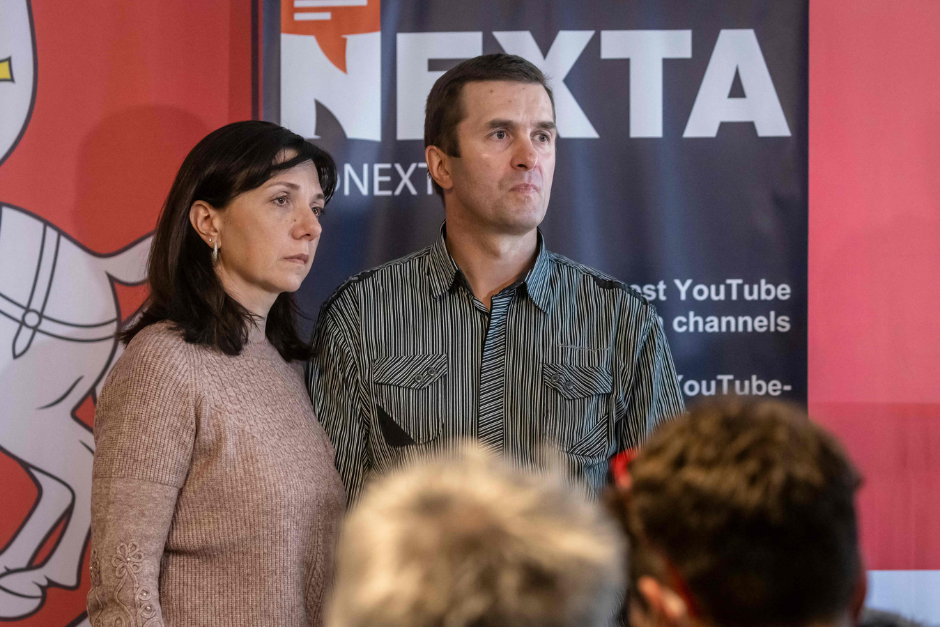 Natalia en Dmitry Potasevitsj tijdens de persconferentie.