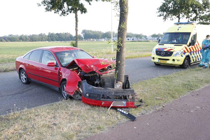 Op de Spectrum in Roosendaal is donderdagochtend een auto tegen een boom gebotst.