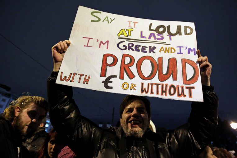 Protest in Athene. Beeld EPA