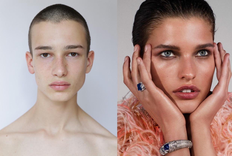 Louis Dercon (links) is een beginner in de modellenwereld, Julia van Os (rechts) loopt al een tijdje mee.