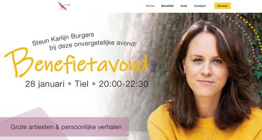 De website E-nuf van de ongeneeslijk zieke Karlijn Burgers (29) uit Tiel.