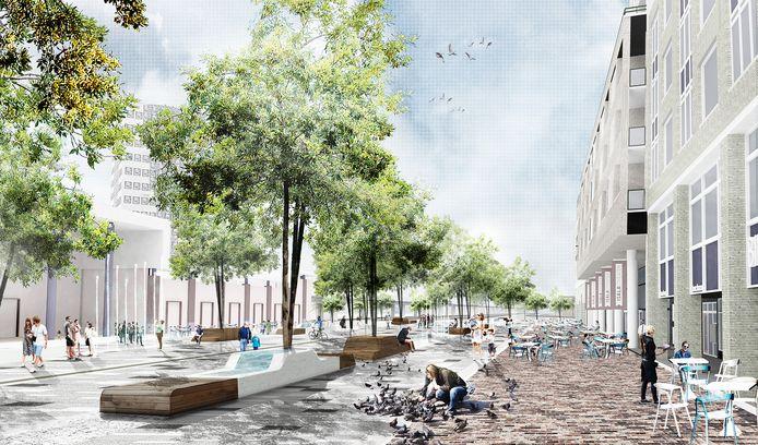 Het nieuwe Stadsplein wordt gekenmerkt door veel licht, groen en strakke contouren.