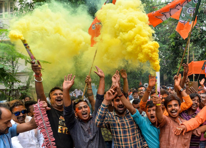 BJP-stemmers vierden de overwinning vanochtend al. Beeld AFP