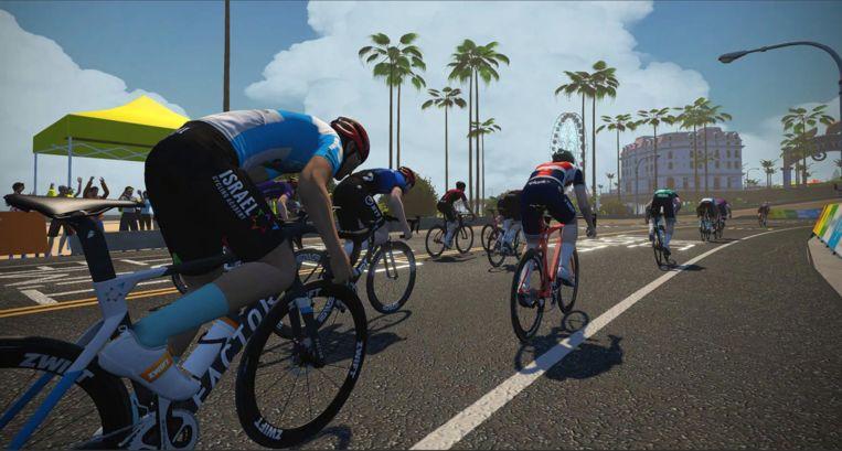 Wedstrijdbeeld uit de virtuele Tour de France. Beeld Sporza
