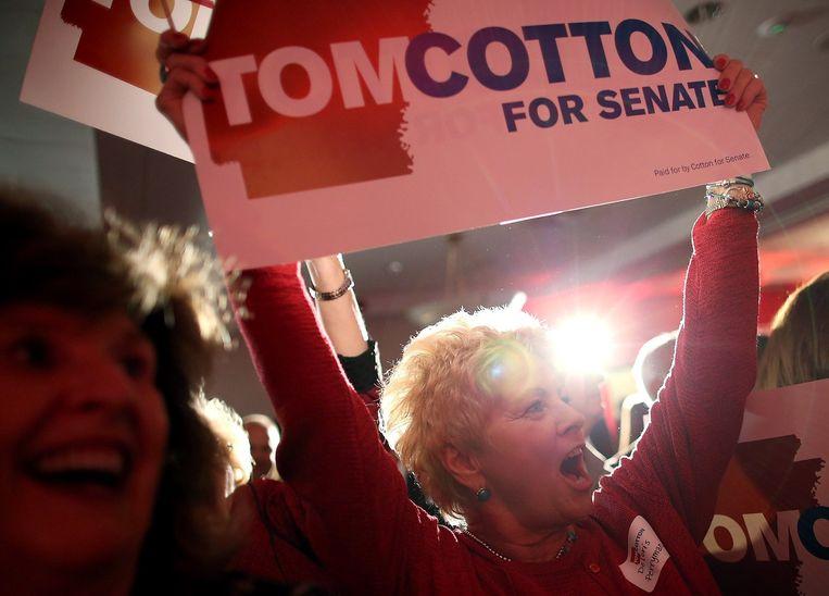 Republikein Tom Cotton behaalde in Arkansas een belangrijke overwinning op de Democraat Mark Pryor. Beeld afp