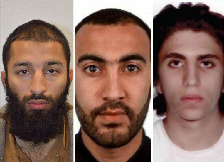 Van links naar rechts: Khuram Butt, Rachid Redouane en Youseff Zaghba. Beeld REUTERS