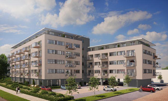 Het voormalige KPN-kantoorcomplex aan de Roelenweg gaat na een ingrijpende verhouwing verder als wooncomplex Up-Town Zwolle.