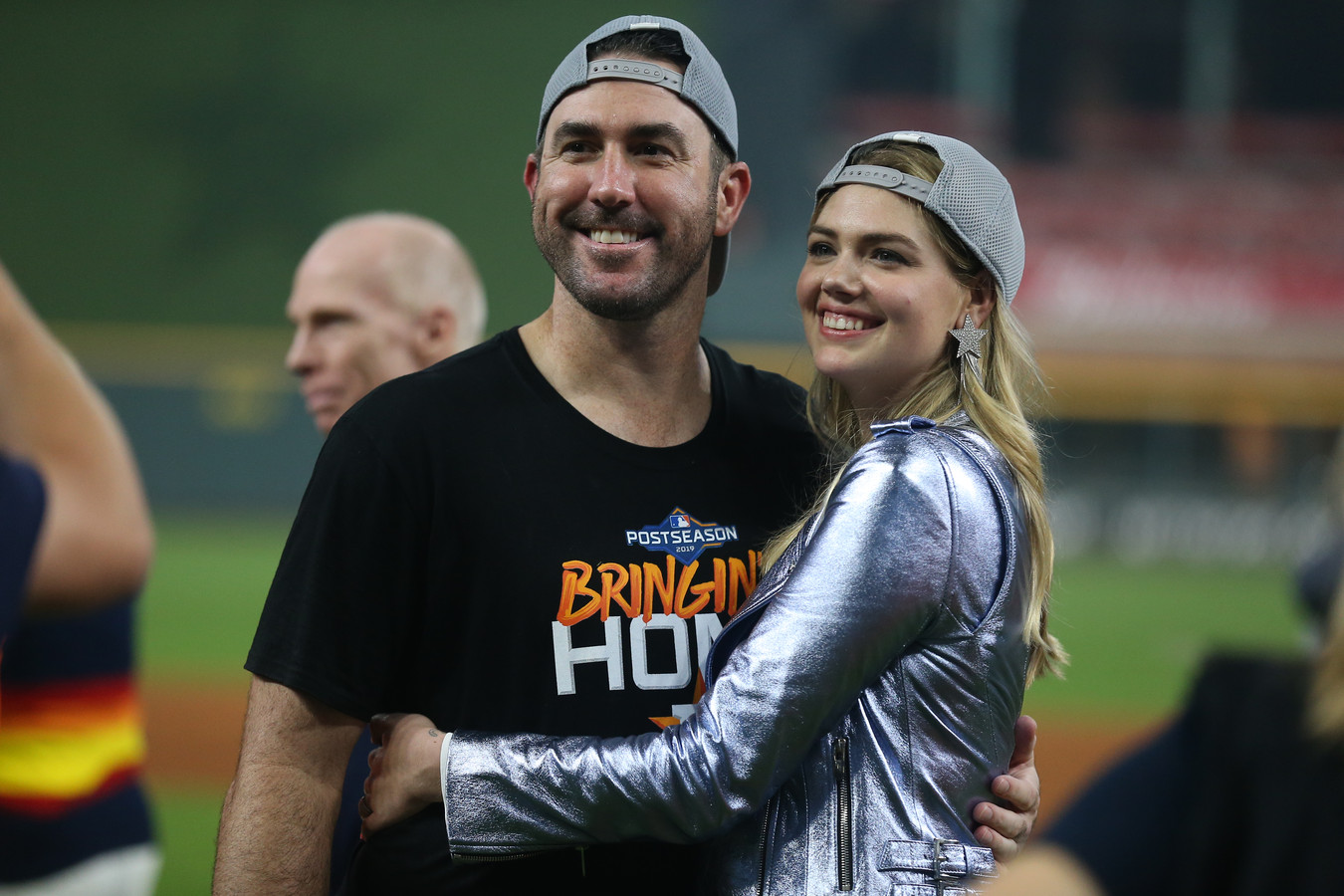 Justin Verlander (l)  en zijn vrouw Kate Upton.