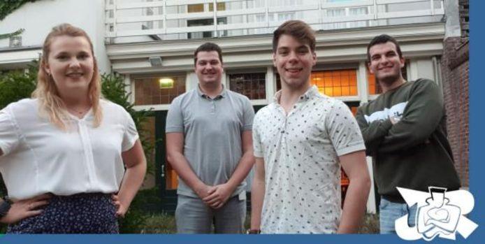 Het nieuwe bestuur van Jongerenraad Roosendaal, met van links naar rechts Joyce Rommens, Björn Rommens, Sebastiaan Waegemaekers en Cekwara Yildiz.