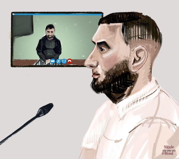 Emin Y. (voorgrond) en Ali Z. (op het scherm) tijdens een eerdere zitting in de rechtbank.