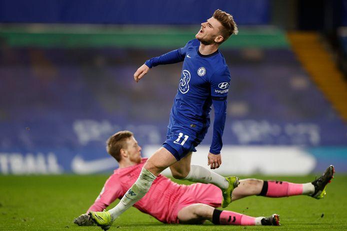 Timo Werner tijdens het duel met Everton.