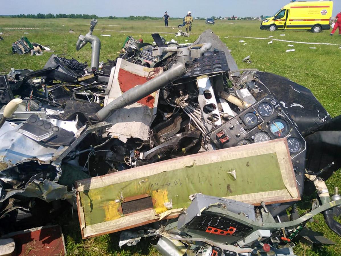 Het wrak van het toestel dat neerstortte in de regio Kemerovo.