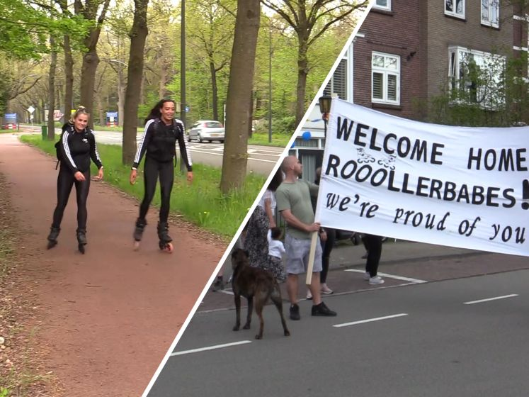 Rolschaatsende meiden bereiken Breda na tocht door hele land