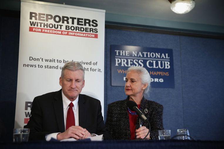 Marc en Deborah Tice, de ouders van journalist Austin Tice, tijdens een persconferentie gisteren. Beeld getty