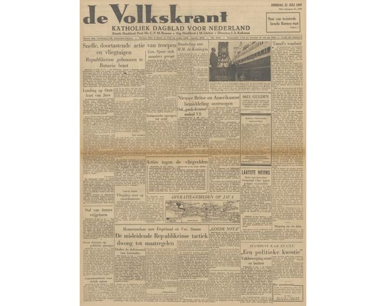 voorpagina 22 juli 1947 Beeld de Volkskrant