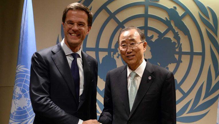 Premier Mark Rutte ontmoet VN-topman Ban Ki-moon tijdens een bijeenkomst in het kader van de klimaattop van de Verenigde Naties. Beeld epa