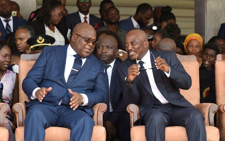 Félix Tshisekedi begin dit jaar tijdens zijn inauguratie als president, naast zijn voorganger Joseph Kabila. Beeld REUTERS
