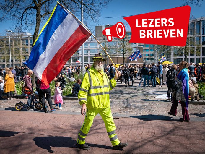 Demonstratie tegen het coronabeleid op de markt